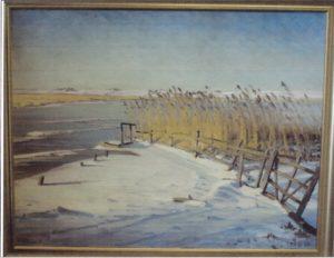 Løje Sø - Egedal i baggrunden. 1929. Maleri nr. 25