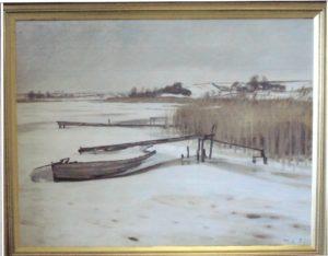 Løje Sø set fra Kildebakken mod nord. 1932. Maleri nr. 26.