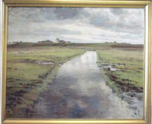 Værebro Å, set fra Holmevej mod syd. 1931. Maleri nr. 28