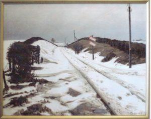 Banelinjen hvor vejen til Egedal passerer. 1924. Maleri nr. 31.