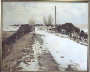 Jernbaneoverskæringen ved Kildevej sydøst for Veksø, med kig op mod Veksø. 1924. Maleri nr. 32
