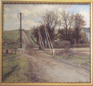 Jernbaneoverskæringen ved Veksø Station, set fra syd. 1923. Maleri nr. 34.