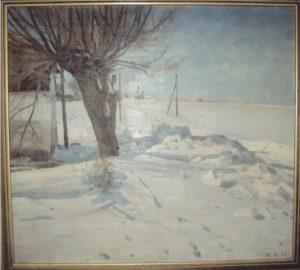 Kirkebakken set mod vest fra hjørnet af kirkegården. 1931. Maleri nr. 45.