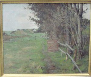 Kig fra Kildebakken mod nord til Jægerhytten. Ca. 1919. Maleri nr. 46.