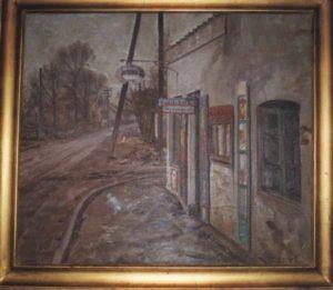 Kiosken på Veksø Bygade, ved hjørnet af Toxvrdsvej. 1942. Maleri nr. 38.