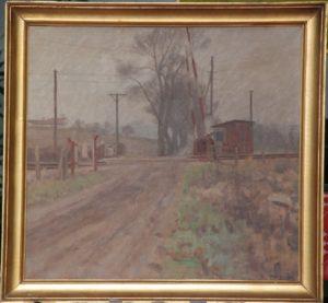 Jernbaneoverskæringen ved Egedal, set fra syd, med Maglehøj i baggrunden. 1942. Maleri nr. 22.