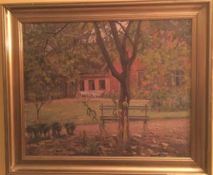 Muligvis lægeboligen ved Skibstedgård og Brøndstedgård. 1930. Maleri nr. 193