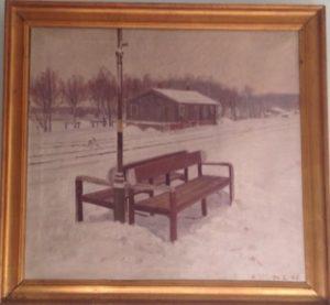 Ballerup Station, bænk på perronen. 1945. Maleri nr. 203