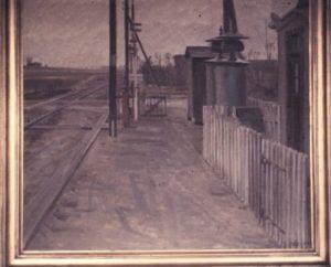 Jernbaneoverskæringen ved Stenløse Station. 1942?  Maleri nr. 202.