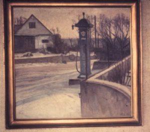 Benzintank ved købmanden i Søsum. 1946. Maleri nr. 250