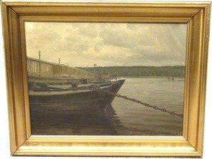 Pontonbroen over Roskilde Fjord, med både i forgrunden. Maleri nr. 257.