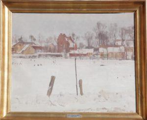 Udsigt over grønningen til Veksø Kirke. 1946. Maleri nr. 44.