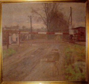 Jernbaneoverskæringen ved Egedal, set fra syd, med Maglehøj i baggrunden. 1946. Maleri nr. 50.