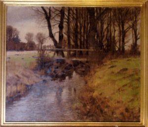Bro over vandløb ved sysiden af Vårsøgård. 1926. Maleri nr. 58